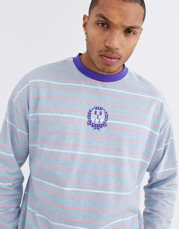 ASOS DESIGN oversized long sleeve stripe t-shirt with chest embroidery-Multi