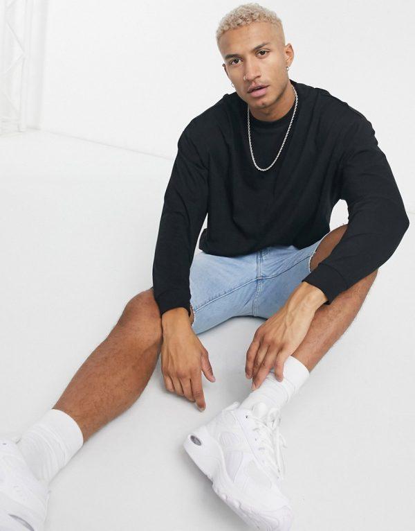 ASOS DESIGN oversized long sleeve t-shirt in black
