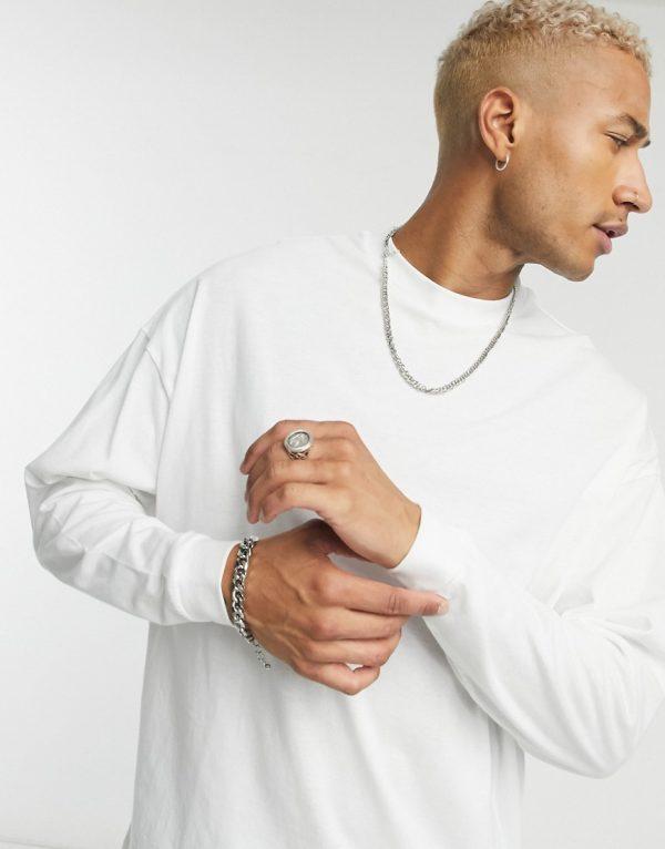 ASOS DESIGN oversized long sleeve t-shirt in white