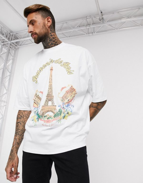 ASOS DESIGN oversized longline fit t-shirt with Eiffel Tower front print-White