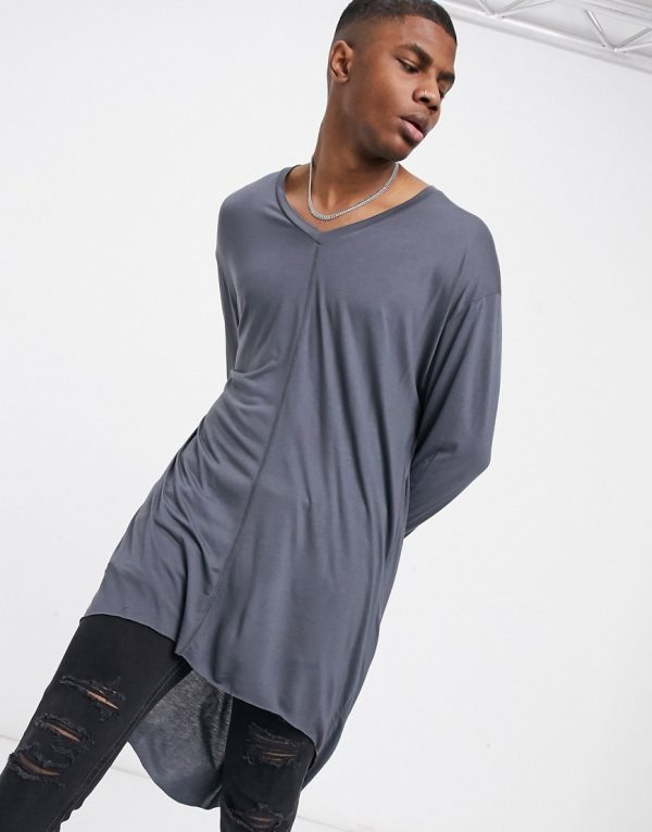ASOS DESIGN oversized longline long sleeve t-shirt in viscose in washed black