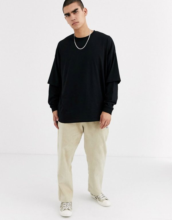 ASOS DESIGN oversized longline long sleeve t-shirt with double layer sleeve in black