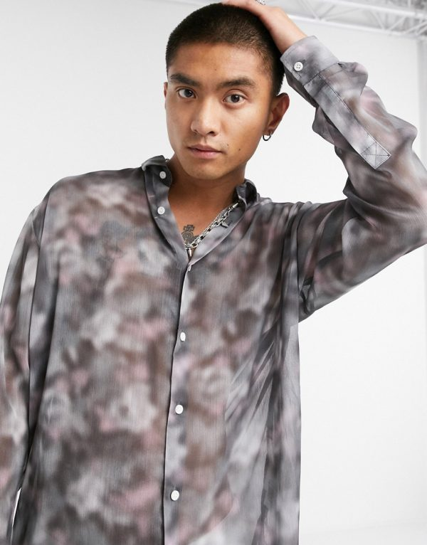 ASOS DESIGN oversized longline sheer shirt in gray and pink blurred print