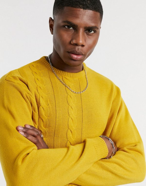 ASOS DESIGN oversized midweight cable knit sweater in mustard-Orange