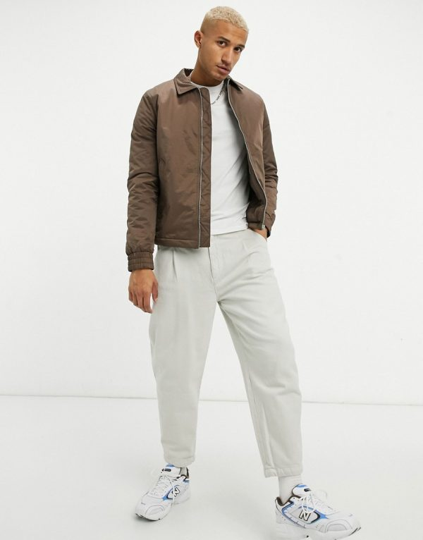 ASOS DESIGN oversized padded harrington jacket in brown