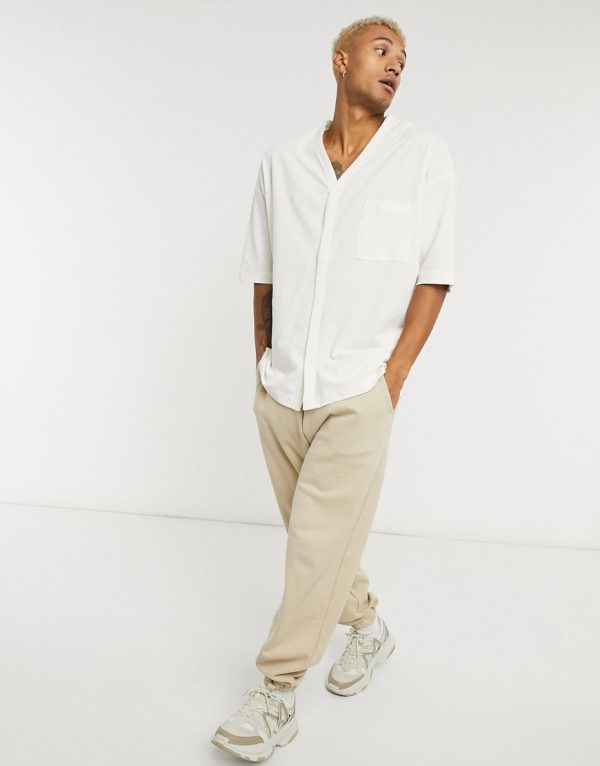 ASOS DESIGN oversized pique jersey shirt in off white