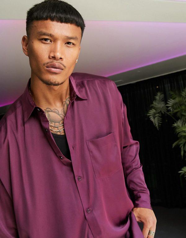 ASOS DESIGN oversized satin shirt in deep purple