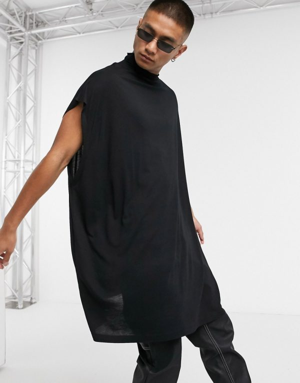ASOS DESIGN oversized sleeveless t-shirt in viscose with grown on neck in black
