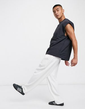 ASOS DESIGN oversized sleeveless wadded t-shirt in navy