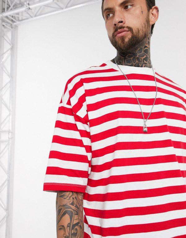 ASOS DESIGN oversized stripe t-shirt in organic cotton-Red