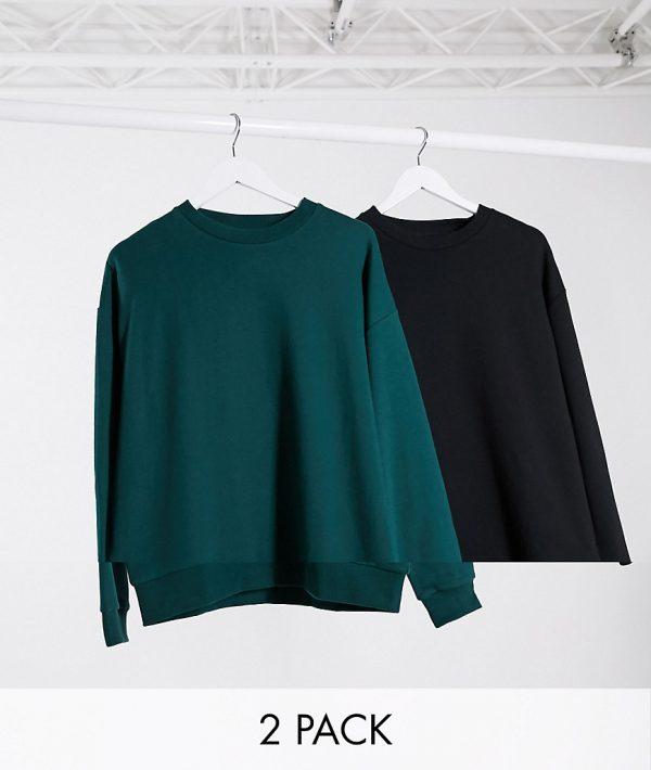 ASOS DESIGN oversized sweatshirt 2 pack black/khaki-Multi