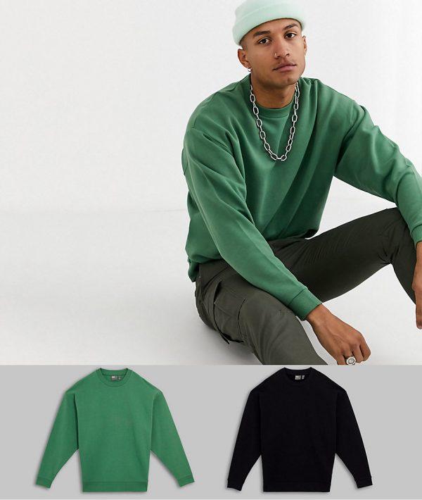 ASOS DESIGN oversized sweatshirt 2 pack in black & green-Multi