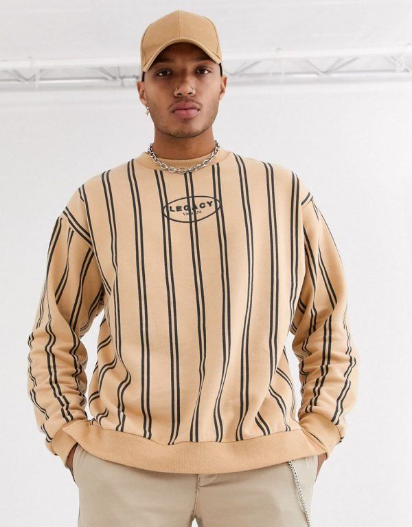 ASOS DESIGN oversized sweatshirt in beige with stripes and legacy print