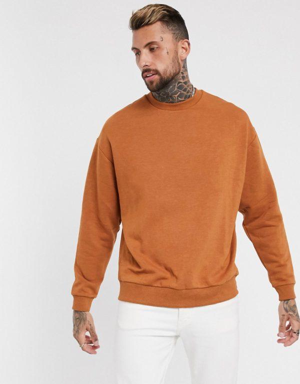 ASOS DESIGN oversized sweatshirt in brown