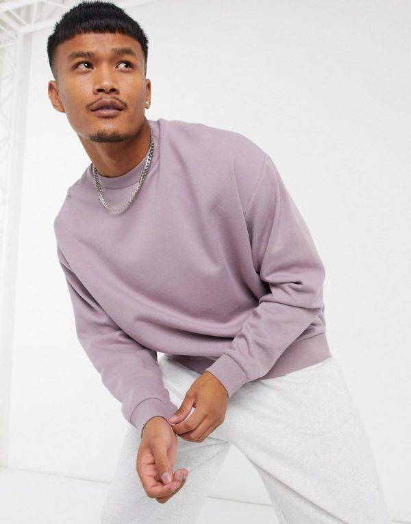 ASOS DESIGN oversized sweatshirt in purple