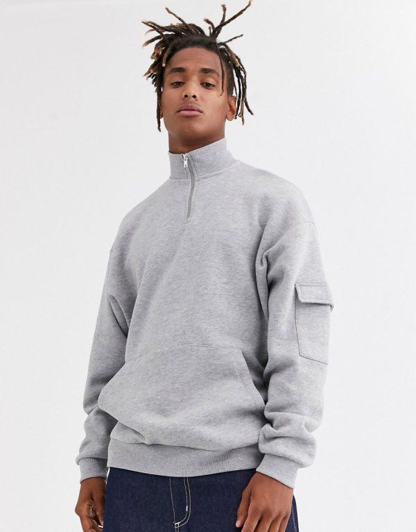 ASOS DESIGN oversized sweatshirt with funnel neck & cargo pocket in gray marl