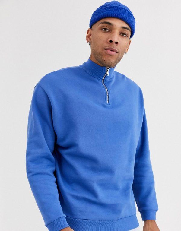 ASOS DESIGN oversized sweatshirt with half zip in bright blue