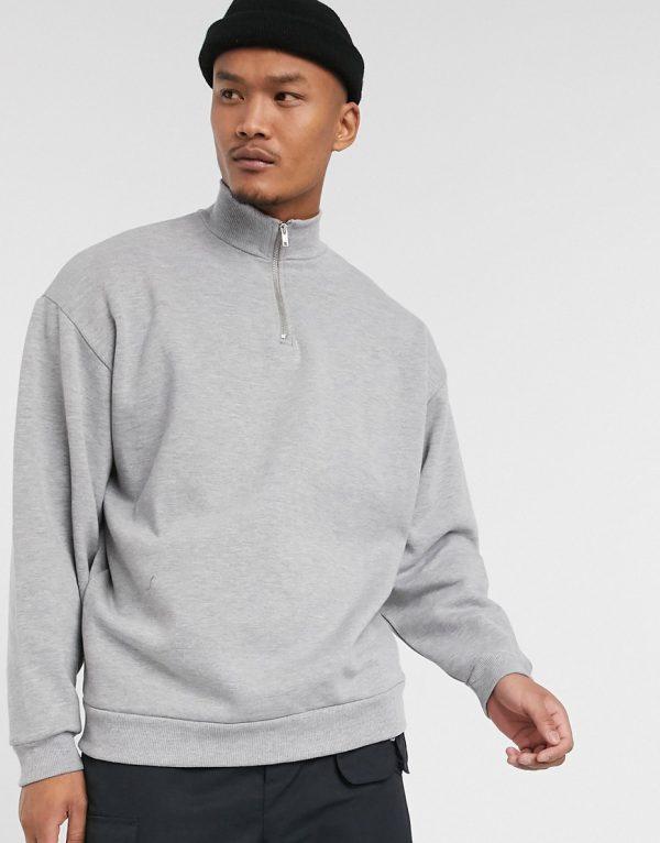 ASOS DESIGN oversized sweatshirt with half zip in gray marl