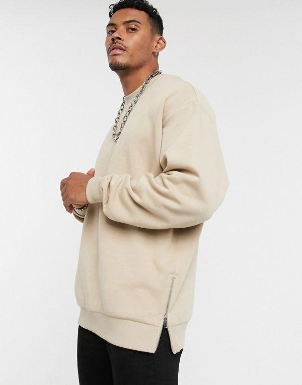ASOS DESIGN oversized sweatshirt with silver side zips in beige