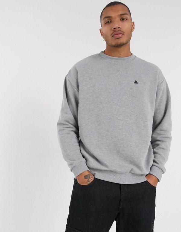ASOS DESIGN oversized sweatshirt with triangle in heather gray-Grey