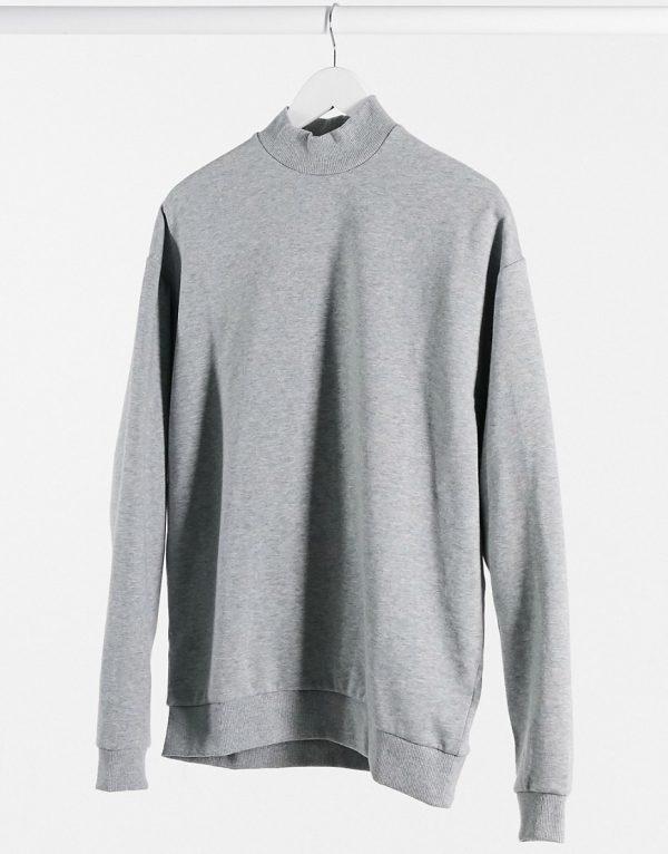 ASOS DESIGN oversized sweatshirt with turtle neck in gray marl