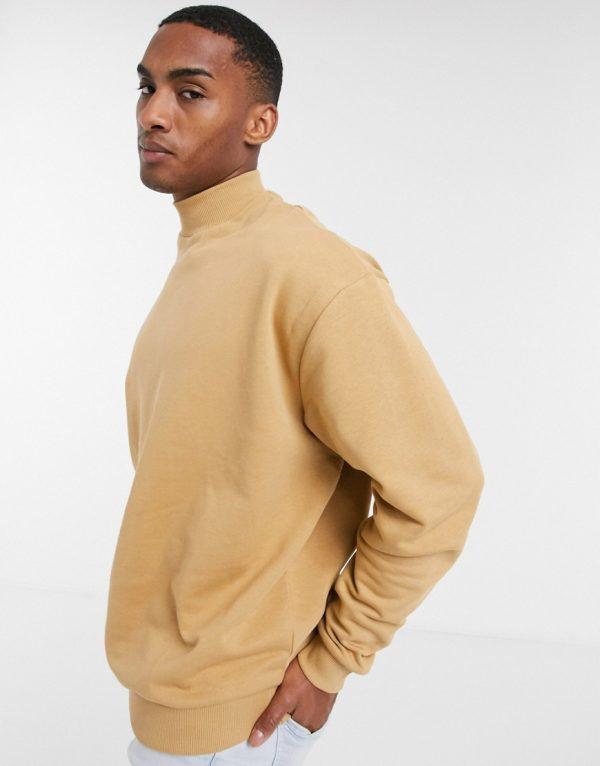ASOS DESIGN oversized sweatshirt with turtleneck in beige