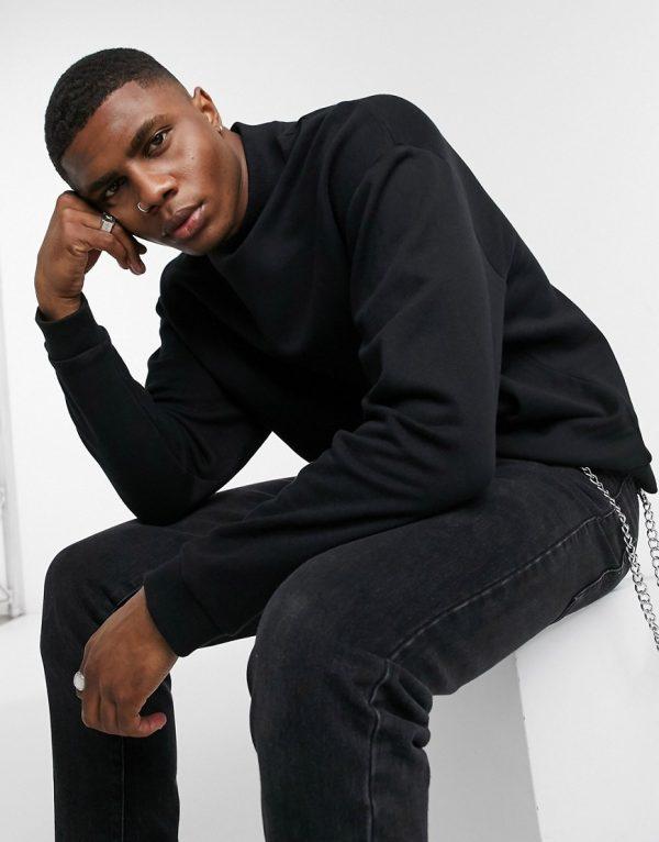 ASOS DESIGN oversized sweatshirt with turtleneck in black