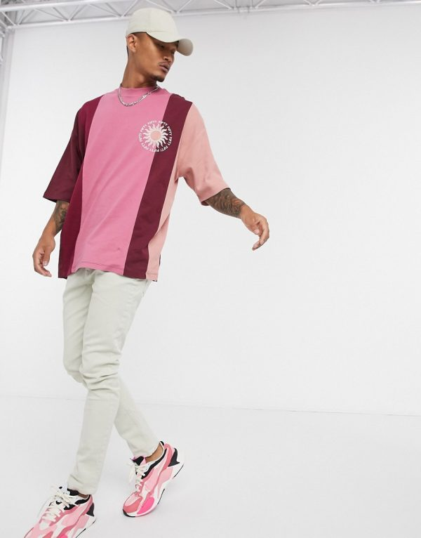 ASOS DESIGN oversized t-shirt in color block with embroidery and waffle fabric panels-Red