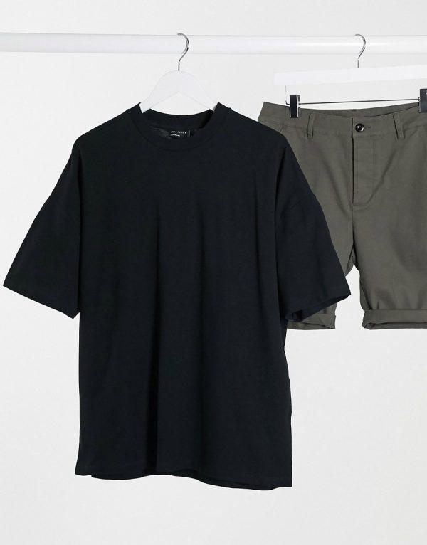 ASOS DESIGN oversized t-shirt in pique in black