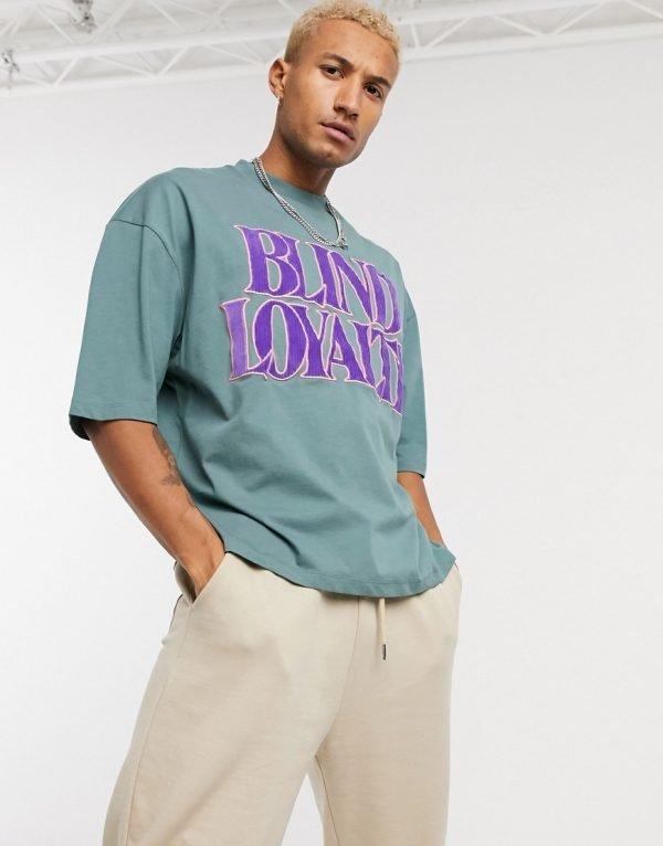 ASOS DESIGN oversized t-shirt with corduroy applique text in green-Blue