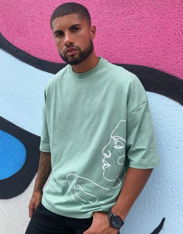 ASOS DESIGN oversized t-shirt with line drawing face print-Green