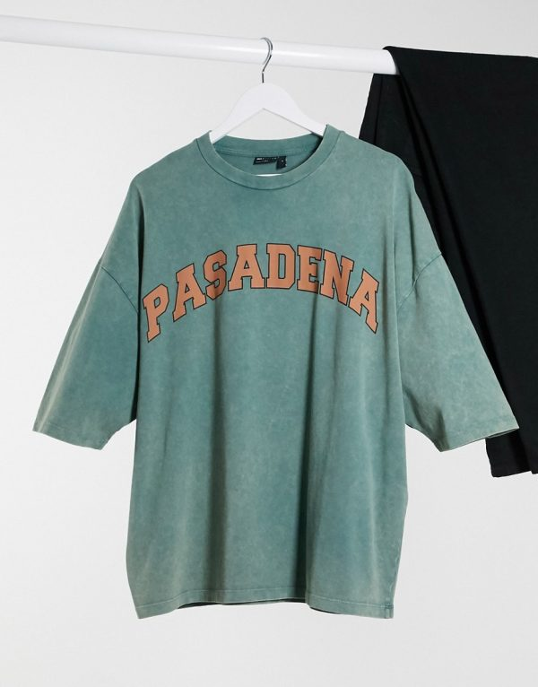 ASOS DESIGN oversized t-shirt with text print in green acid wash