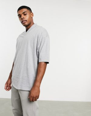 ASOS DESIGN oversized t-shirt with v neck in gray marl
