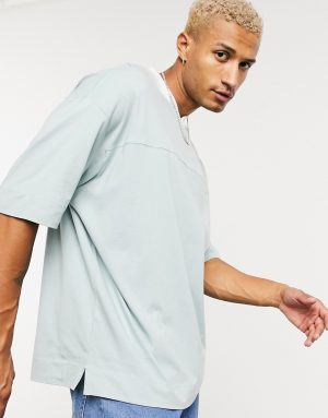 ASOS DESIGN oversized t-shirt with v -neck in pale green-Gray