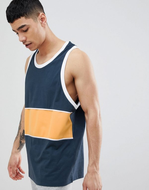 ASOS DESIGN oversized tank with color block in polytricot-Gray