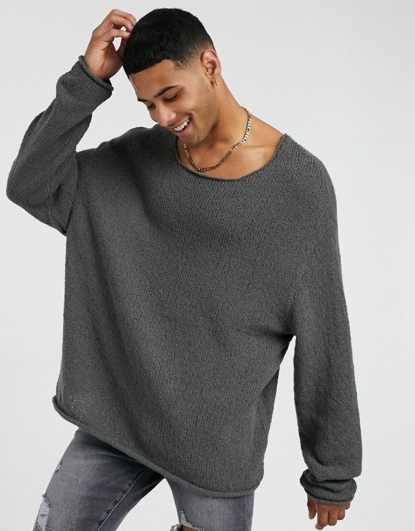 ASOS DESIGN oversized textured sweater in off slate-Gray