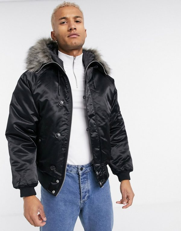 ASOS DESIGN padded bomber jacket with faux fur hood in black