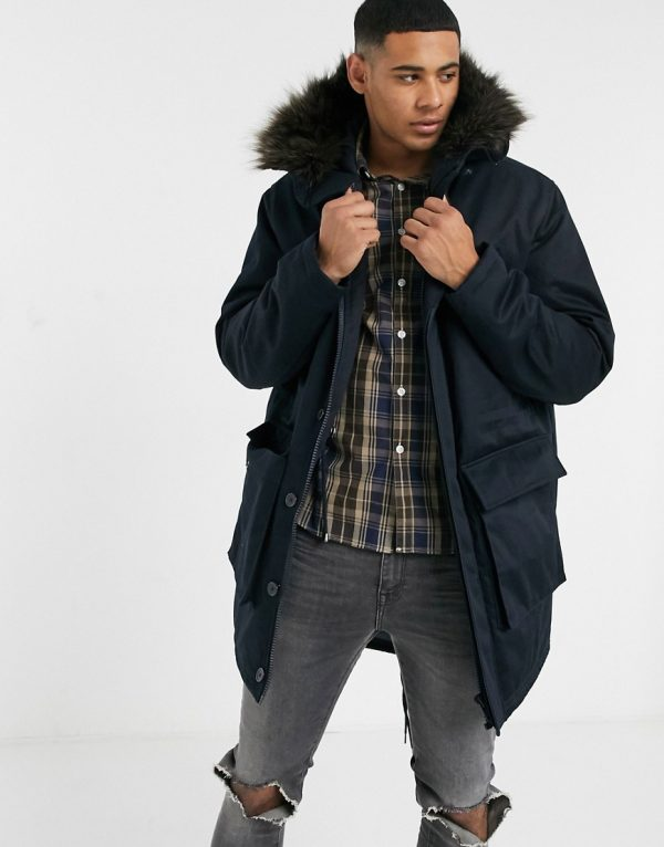 ASOS DESIGN parka jacket with quilted lining in black