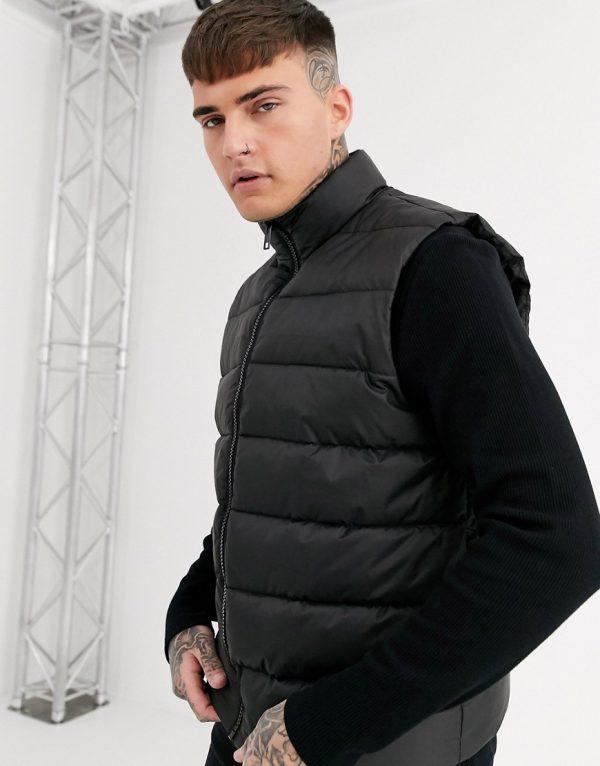 ASOS DESIGN puffer vest in black