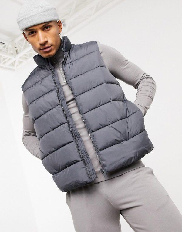 ASOS DESIGN puffer vest in charcoal-Black