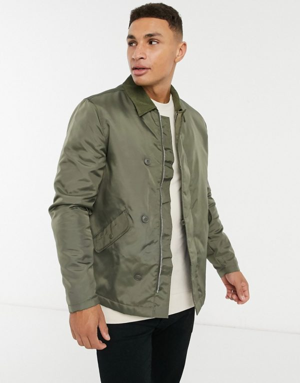 ASOS DESIGN quilted harrington jacket with cord collar in khaki-Green