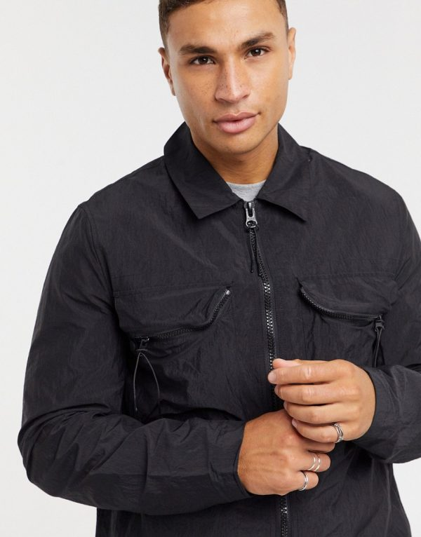 ASOS DESIGN quilted jacket with chest pocket in black