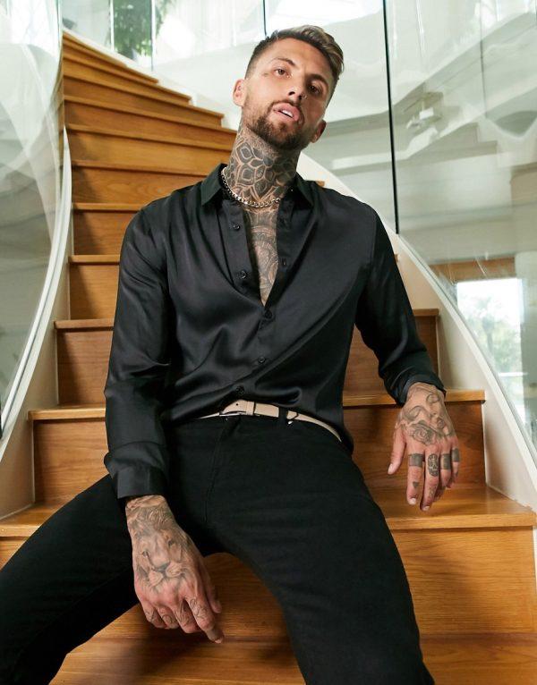 ASOS DESIGN regular fit satin shirt in black