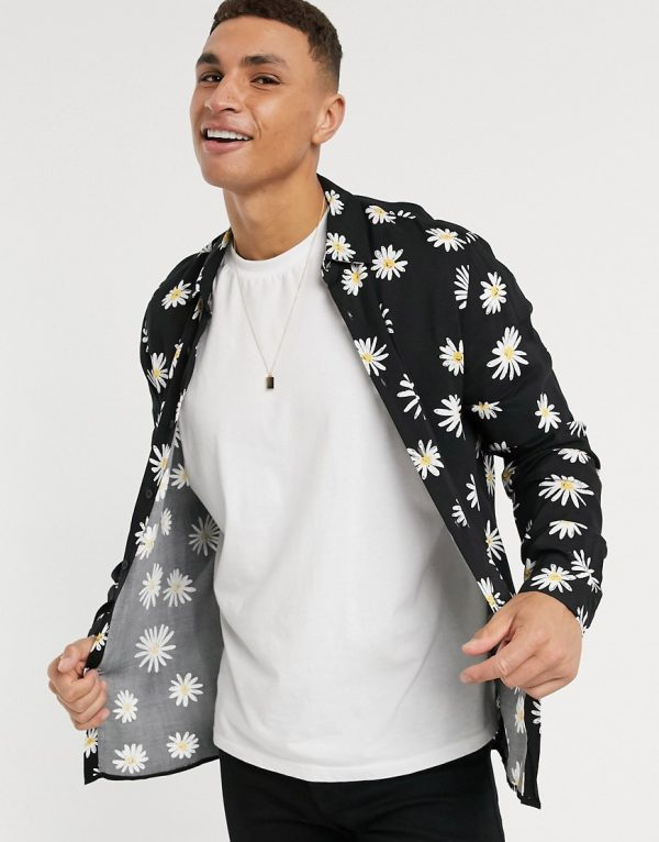 ASOS DESIGN regular fit shirt in daisy print in black