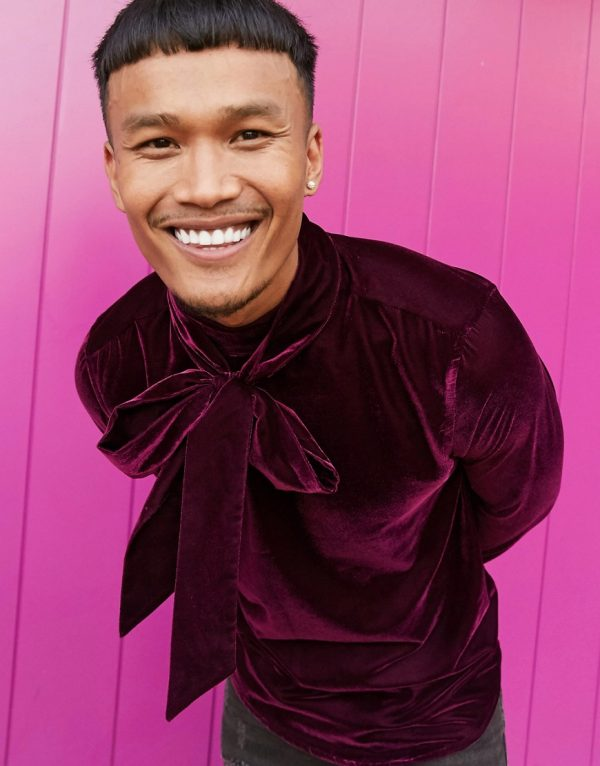 ASOS DESIGN regular fit velvet shirt with pussybow neck tie in deep purple