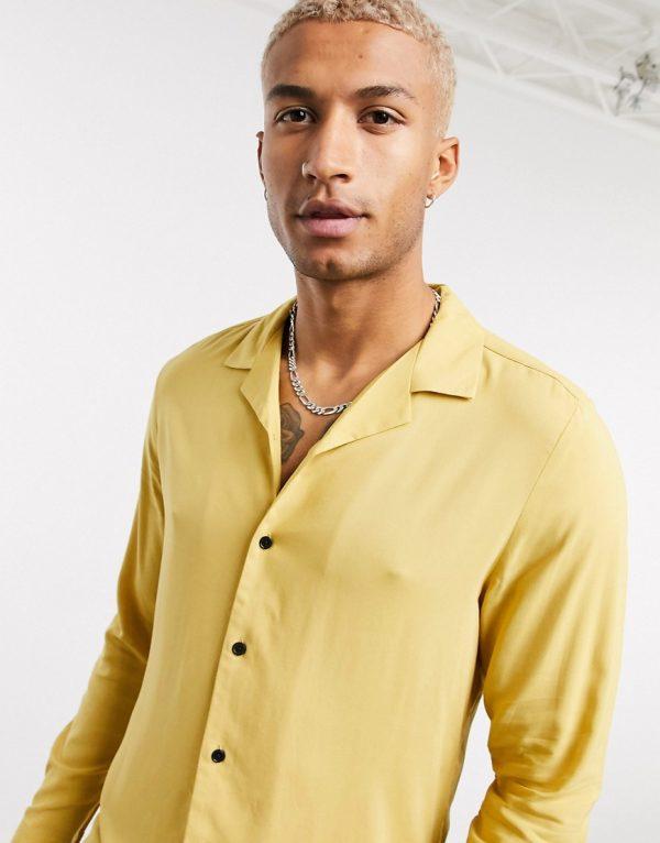 ASOS DESIGN regular fit viscose shirt with revere collar in mustard-Yellow