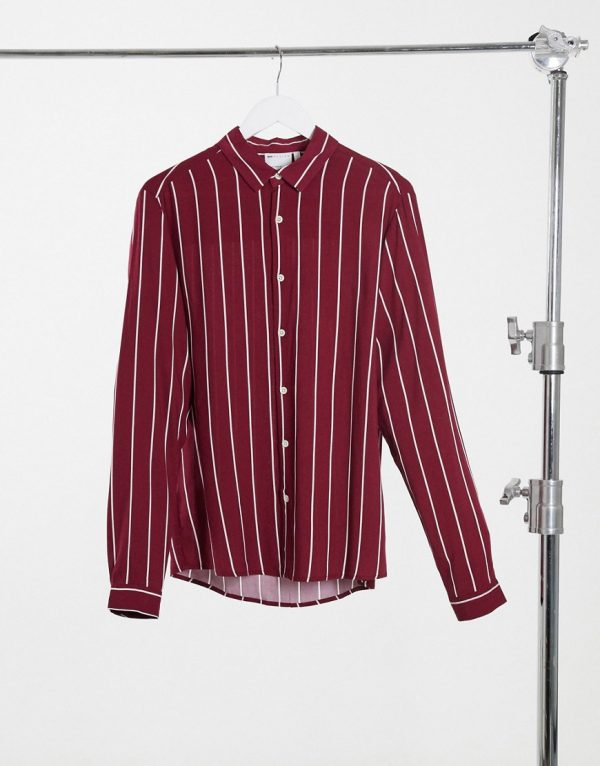 ASOS DESIGN regular fit viscose stripe shirt in burgundy-Red