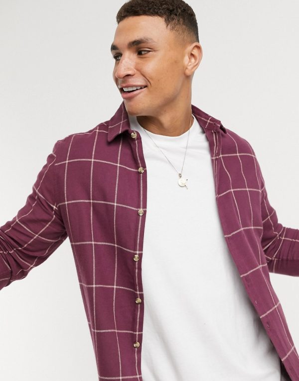 ASOS DESIGN regular plaid shirt in purple