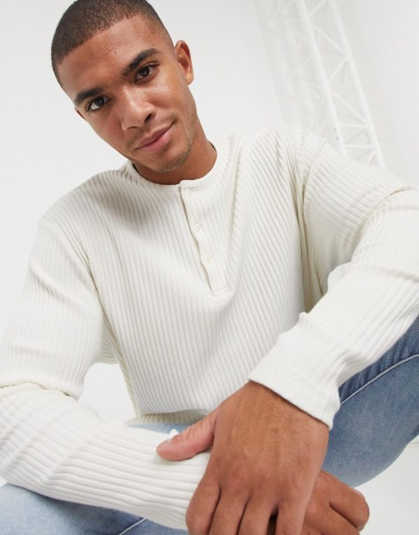 ASOS DESIGN relaxed fit long sleeve t-shirt in rib with grandad neck in ecru-White