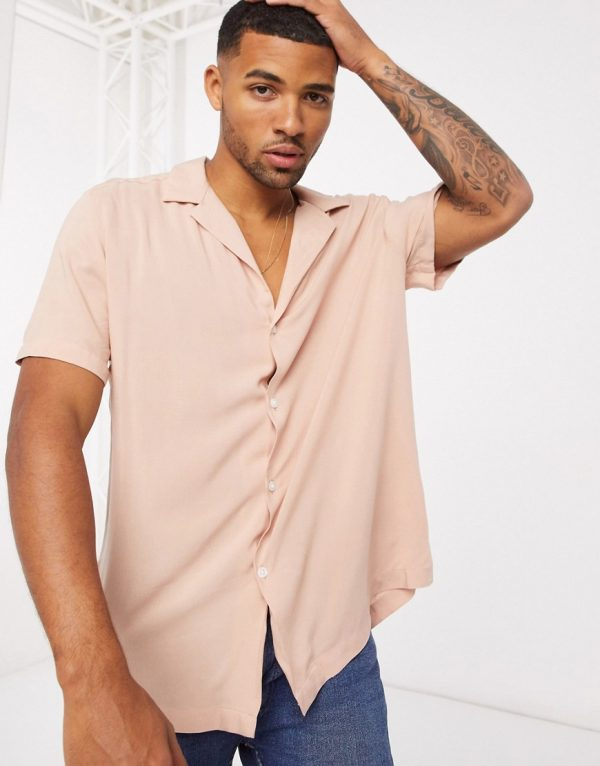 ASOS DESIGN relaxed fit viscose shirt with low revere collar in camel-Brown